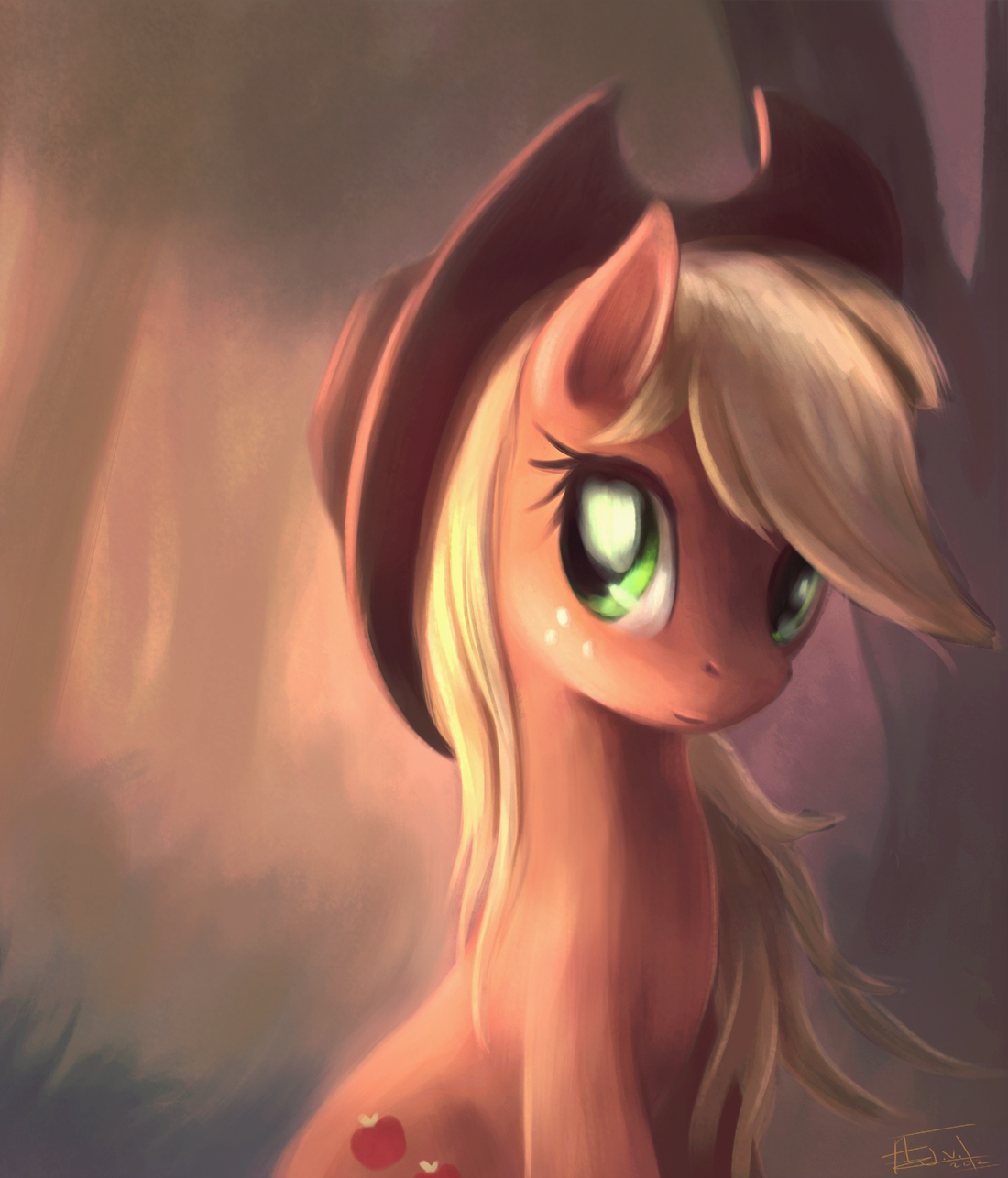 aeronjvl applejack(mlp) blonde_hair cowboy_hat cutie_mark equine female feral forest freckles friendship_is_magic...