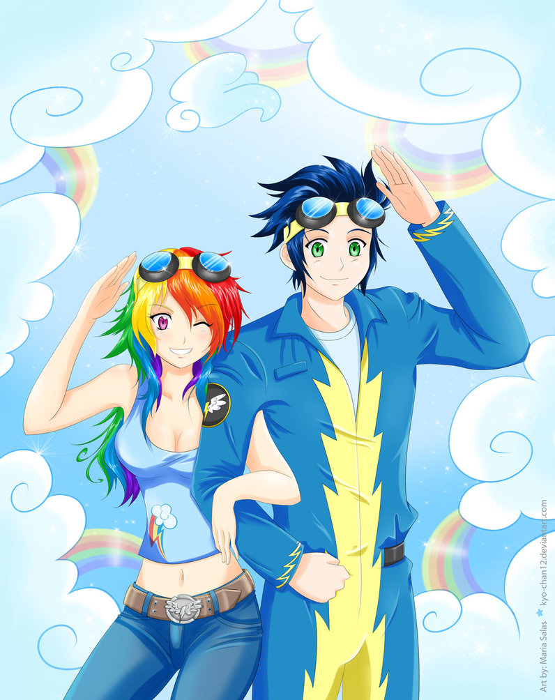 human_rainbowdash_and_soarin_by_kyo_chan